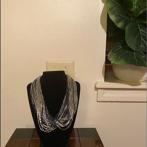 Blue and silver multi-chain necklace 9 inch
